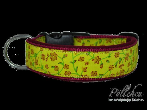 süßes Halsband mit winzigen Blümchen - auch als Zugstopp-/Schlupfhalsband