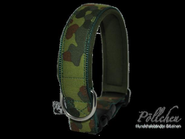 Camouflage Halsband in Flecktarn maßangefertigt und besonders stabil