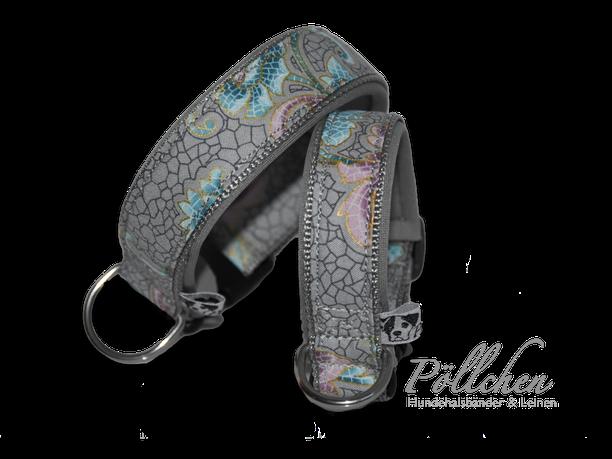 sehr stabiles und robustes Halsband in verschiedenen Ausführungen Tiffany-Stil grau