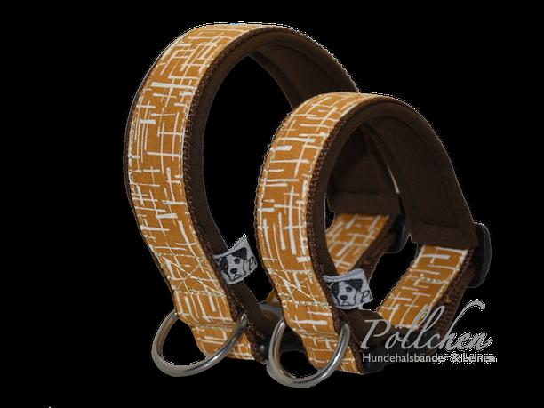 senfgelb braunes Halsband - weich durch Neopren - passend auf Maß gefertigt - Zugstopp oder Steckverschluss