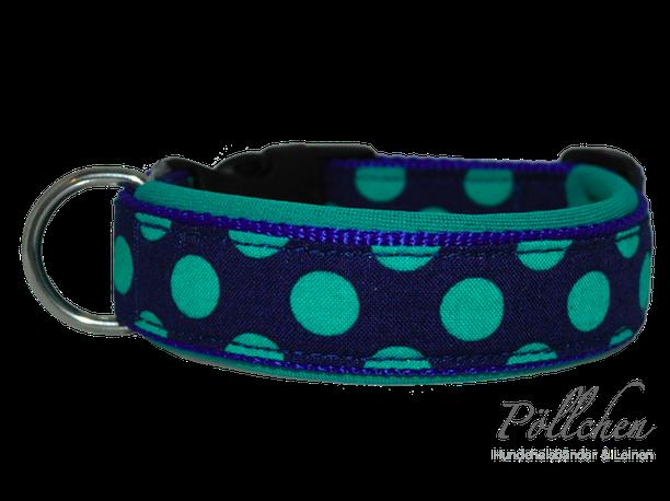 süßes gepunktetes Nylonhalsband mit Neopren auch als Zugstopp-Halsband