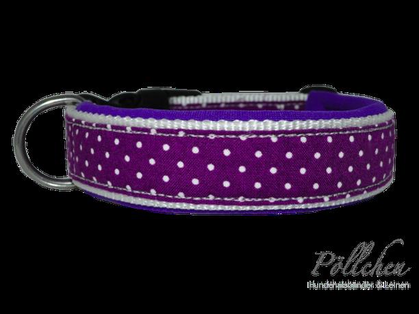 Nylonhalsband mit Steckverschluß in lila mit weißen Punkten