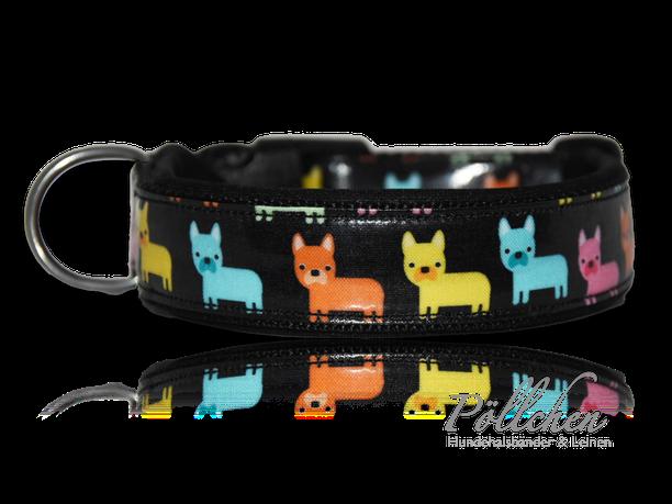 Frenchie Hundehalsband mit beschichteter Baumwolle auf Maß - Bulldogge