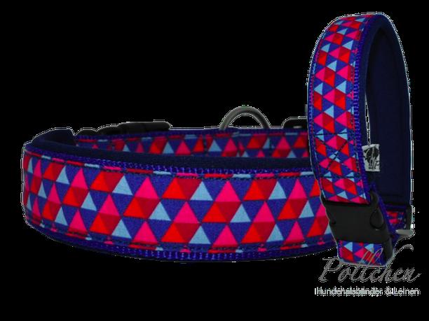 neoprenunterfüttertes Halsband in blau auf Maß