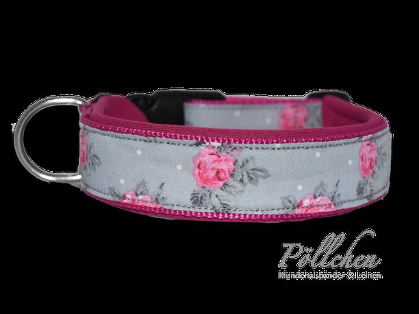 süßes grau rosa Halsband mit pinken Rosen besonders stabil und belastbar
