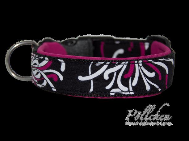 halsband in schwarz pink für alle Rassen auch als Zugstopp