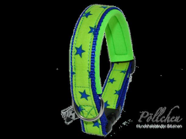 handgefertigtes Nylonhalsband mit Sternen in grün und blau