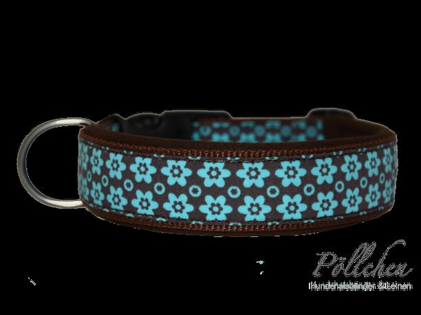 Hundehalsband aus Nylon in hellblau und braun mit Steckverschluß