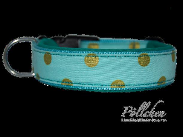robustes Halsband mit Neopren für kleine und große Hunde - mint und golg
