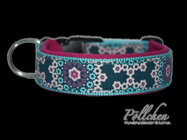 Halsband mit Neopren für Hunde mit Steckverschluß oder als Zugstopp-Halsband türkis Miniblümchen