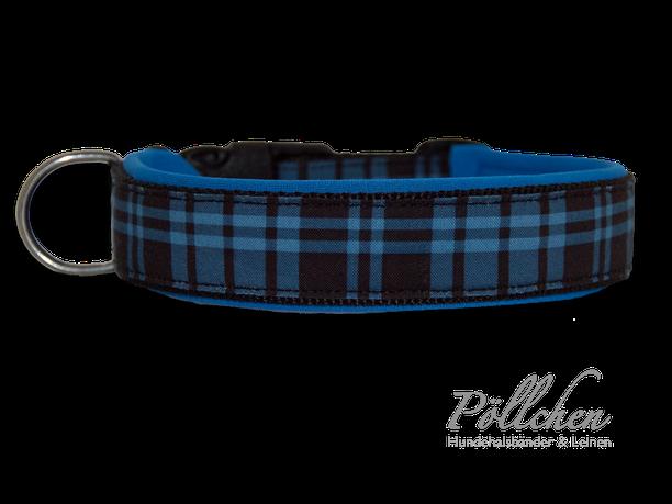 handgefertigtes kariertes Halsband für große und kleine Hunde mit Neopren balu