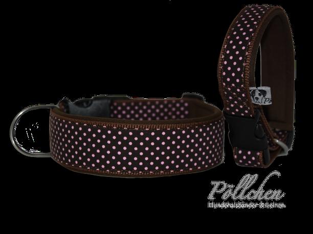 Hundehalsband aus Nylon mit süßen Punkten mit Steckverschluß auf Maß gefertigt