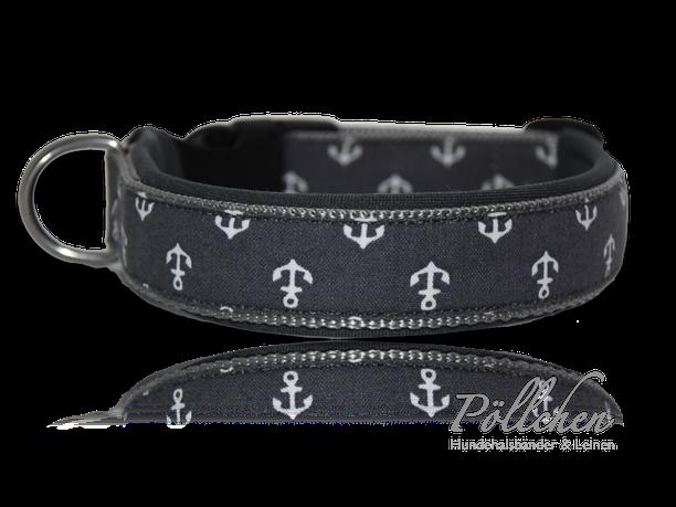 handgefertigtes Halsband für große und kleine Hunde auf Maß mit Neopren - Anker