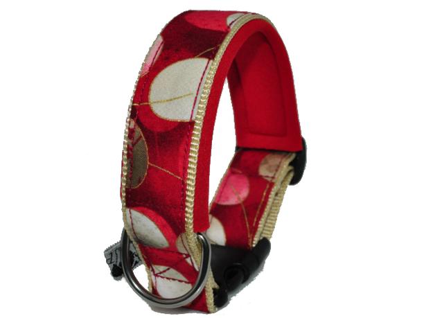 nobles Halsband in rot und gold - auch in Übergrößen
