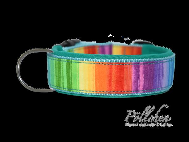 Regenbogenhalsband in mint und türkis bunt - extra breit, extra stabil und sicher Übergröße