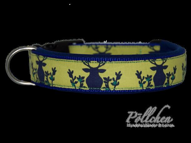 maßgefertigtes Halsband mit Hirschen - extra weich dank Neopren und auf Maß gefertigt - jagdlich