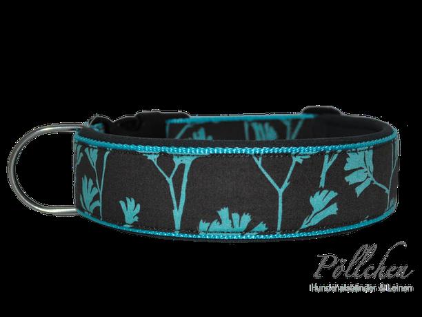 Halsband mit Neopren für Hunde in grau und türkis mit Steckverschluß oder als Zugstopp-Halsband