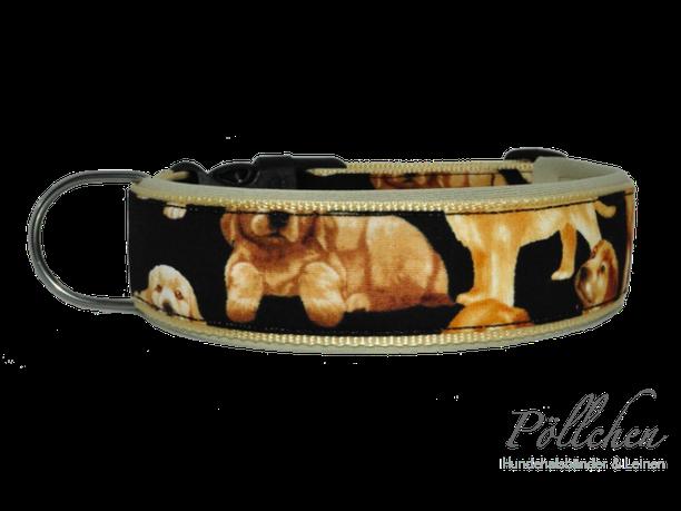 stabiles Hundehalsband mit Golden Retriever Welpen Maßanfertigung
