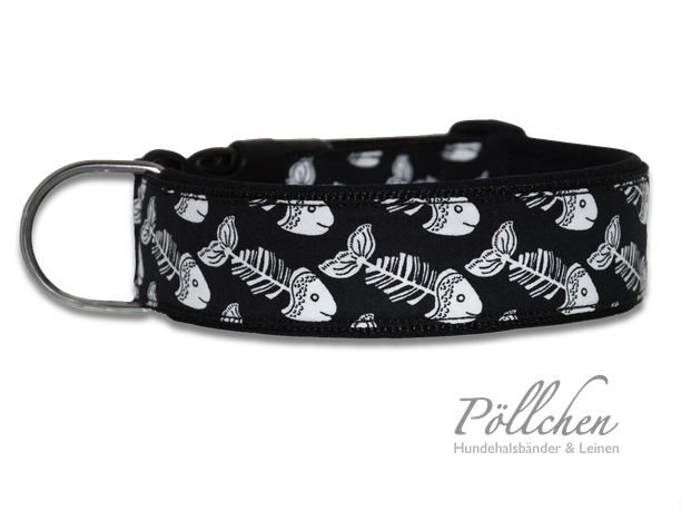handgefertigtes Halsband für große und kleine Hunde auf Maß mit Neopren in schwarz weiß