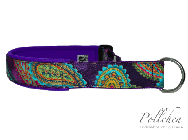 Zugstopphalsband Paisley in lila mit Neopren