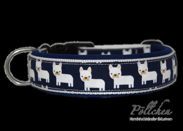 süßes Halsband mit französischen Bulldoggen, auch in extrabreit erhältlich