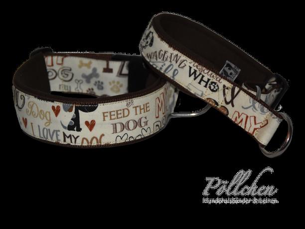 Halsband mit Schrift extrabreit aus Nylon - auch in Übergrößen XXL und Zugstopp bzw. Schlupfhalsband Liebe