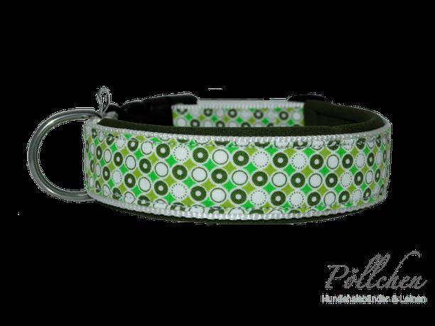 Hundehalsband mit Punkten in grün und Neopren