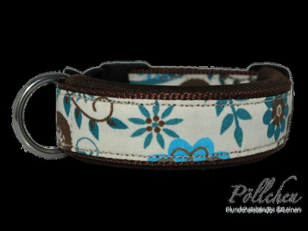 florales Halsband mit Steckverschluss in creme, türkis und braun