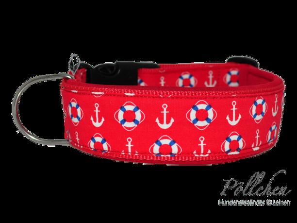 rotes Halsband mit Ankern und Rettungsringen mit Neopren