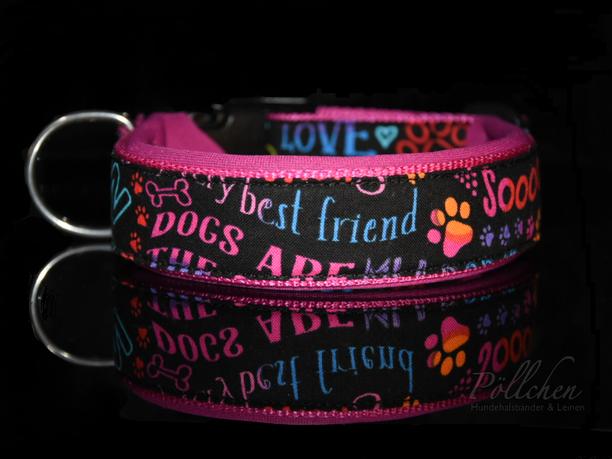 Typo Halsband Schrift Hundeliebe Pinkes Halsband - extra breit, extra stabil und sicher Übergröße
