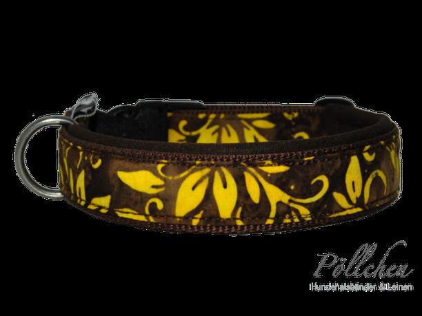 Halsband braun gelb Batik mit Klickverschluss extrem stabil