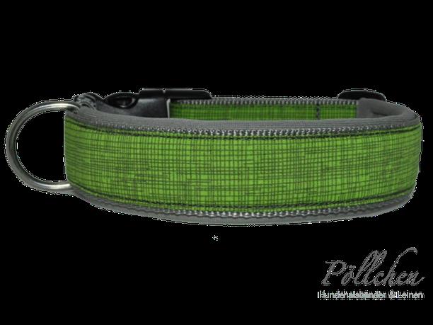 Hundehalsband mit feinen Gitternetzlinien in grün und grau, weich gepolstert mit Neopren, Maßanfertigung