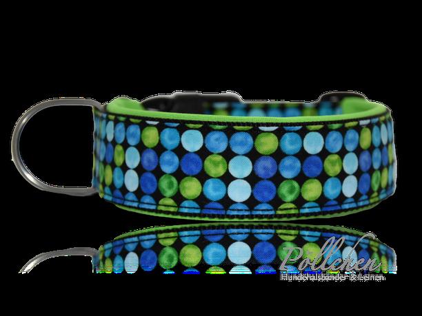 blau schwarzes Halsband besonders weich und stabil dank Neopren - auch als Leine und Zugstopphalsband Punkte