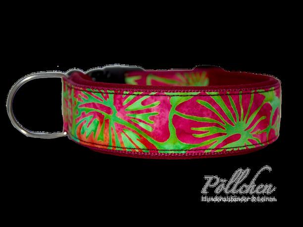 Halsband Hawaii Hibiskus Hellgrün und bordeaux breit und stabil