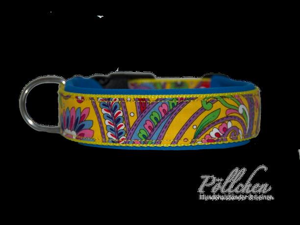robustes Halsband mit Neopren für kleine und große Hunde - bunt und gelb