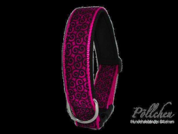 stabiles Halsband auf Maß gefertigt in pink und schwarz
