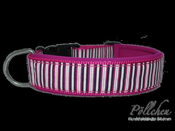 Hundehalsband mit Neopren und Streifen