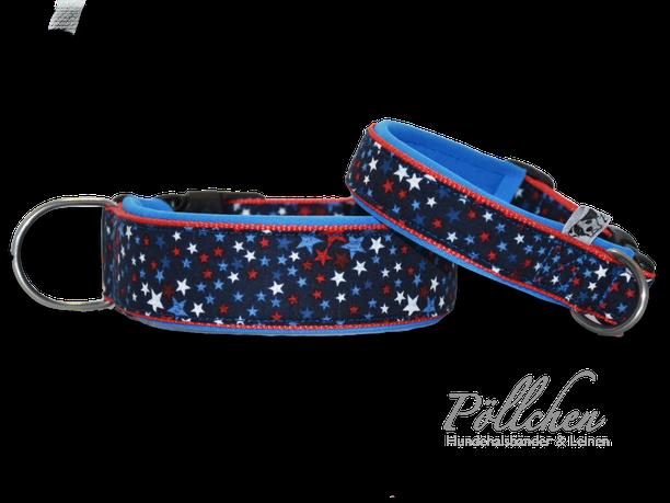 Stars and Stripes - USA Halsband Sterne in rot, blau, weiß - mit Neopren und als Zugstopp