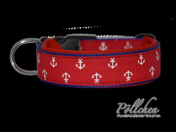 maßgefertigtes Halsband mit Ankern i rot, weiß und blau - extra weich dank Neopren