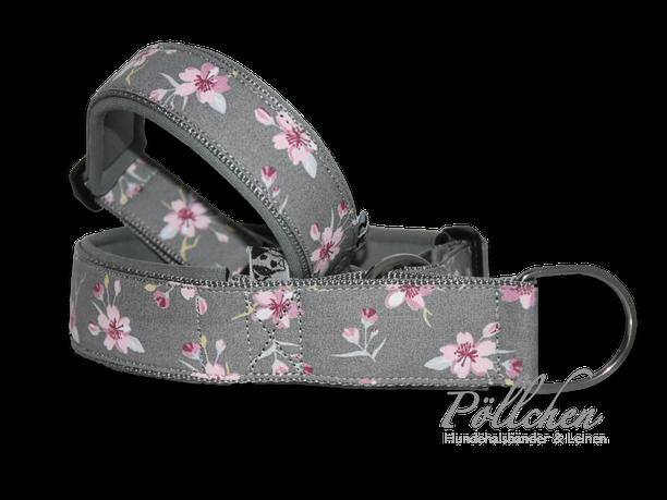 Kirschblüten hellrosa und grau Halsband für alle Rassen - Steckverschluss Alu oder Acetal Zugstopphalsband