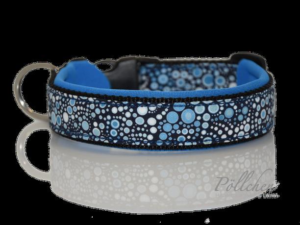 hellblau, lustiges Blubberblasen Halsband - extra breit mit Neopren unterfüttert - blaue Punkte