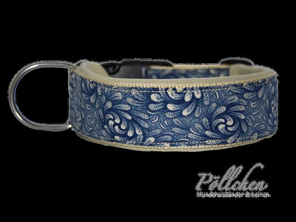 edles blaues Halsband extrabreit aus Nylon - auch in Übergrößen XXL auf Maß gefertigt