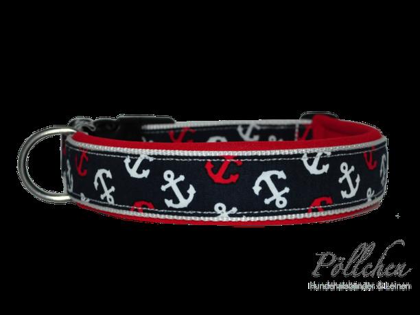 maritimes Halsband mit Ankern in rot, weiß, blau