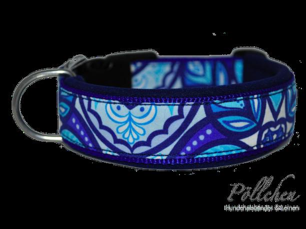 blaues Halsband extrabreit aus Nylon - auch in Übergrößen XXL und Zugstopp bzw. Schlupfhalsband