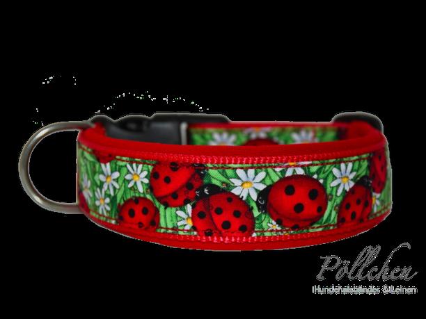 niedliches rotes Halsband mit Marienkäfern extrabreit aus Nylon - auch in Übergrößen XXL und Zugstopp bzw. Schlupfhalsband