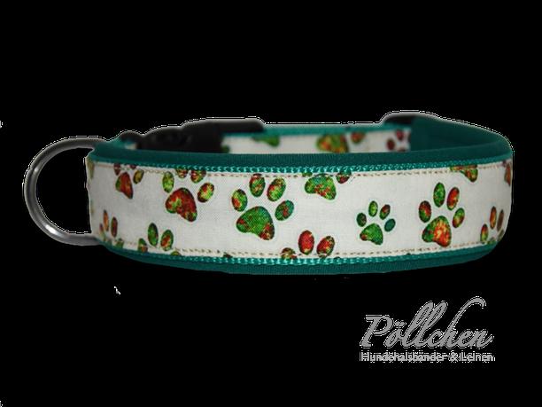 Hundehalsband mit Pfötchen auf Maß gefertigt für große und kleine Hunde