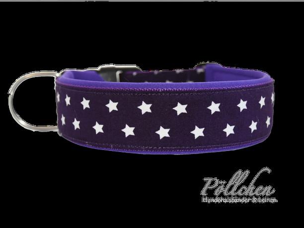 Halsband violett Sterne auf Maß - extra stabil - lila - Neopren