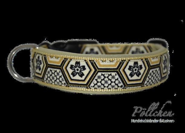 beige / schwarzes Halsband extrabreit aus Nylon - auch in Übergrößen XXL und Zugstopp bzw. Schlupfhalsband