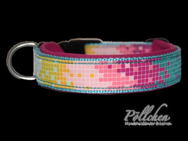 Pixel Halsband bunt pastell - Zugstopp und passende Leine