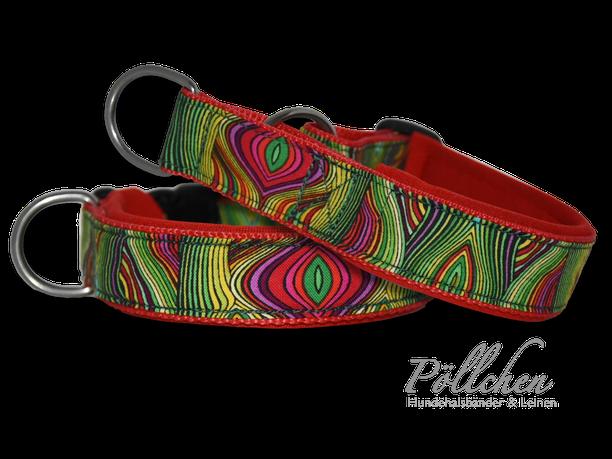 rot grünes Halsband mit dünnen Streifen - weich durch Neopren - passend auf Maß gefertigt